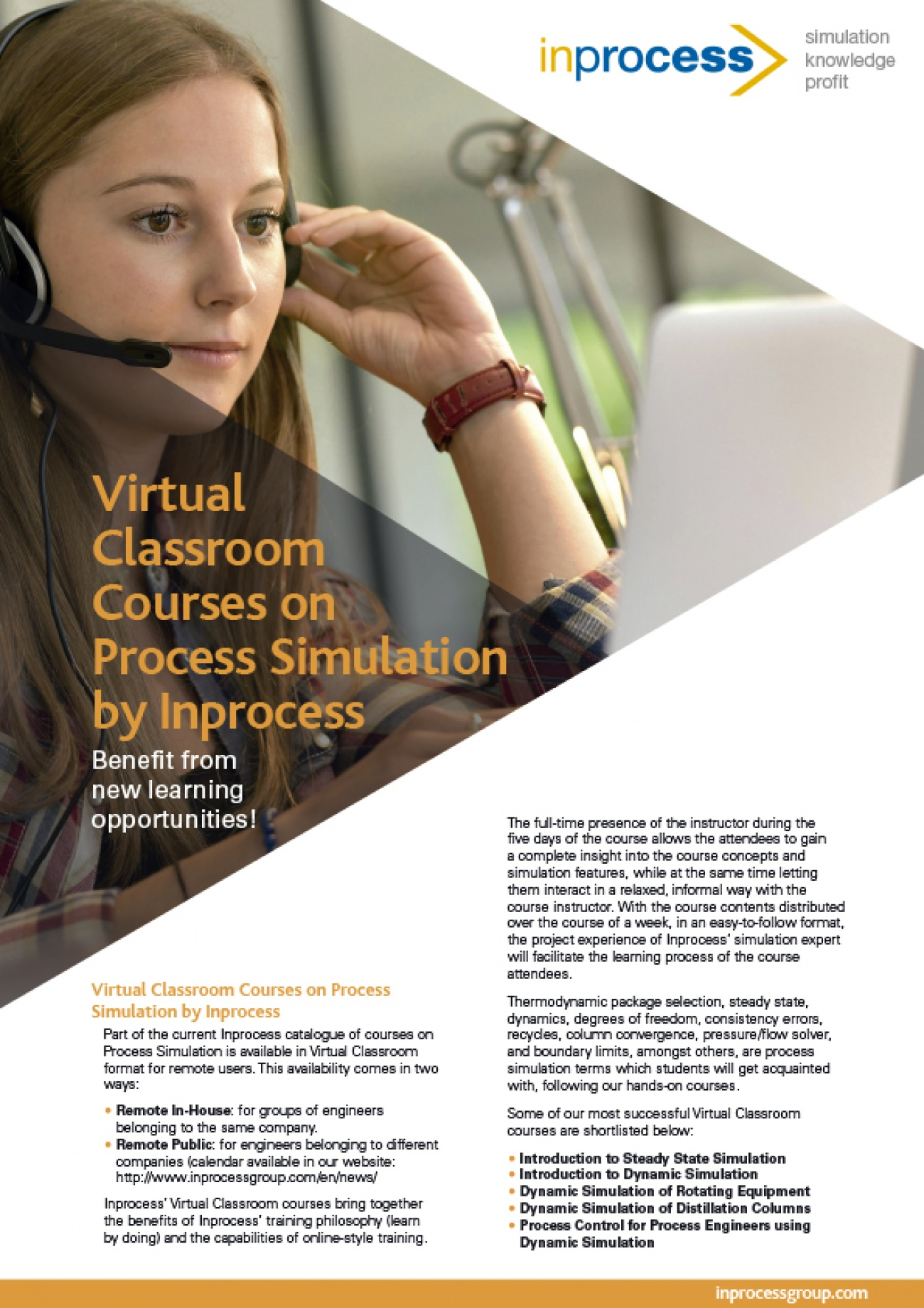Virtual Classroom Courses on Process Simulation