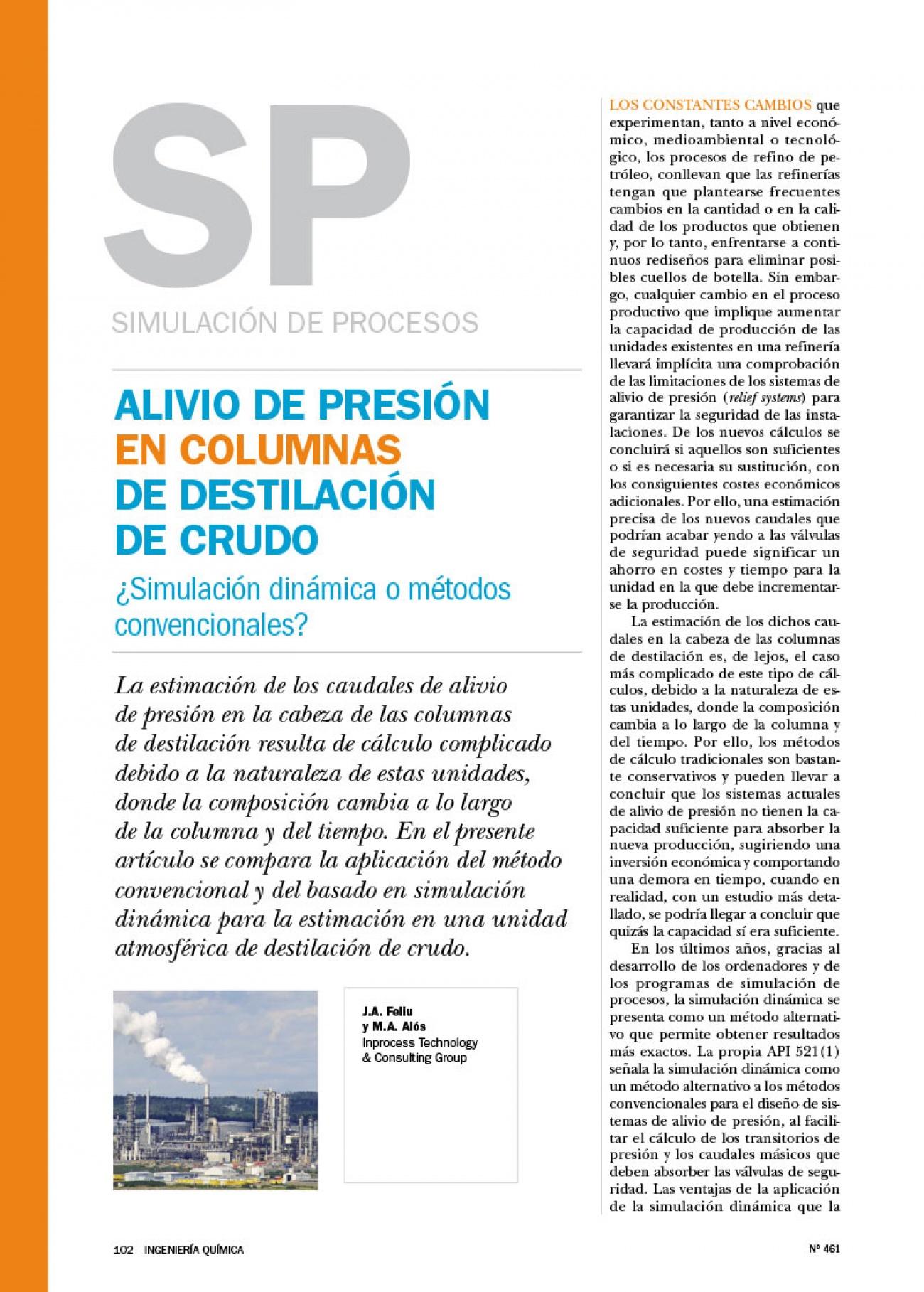 inprocess Alivio de presión en columnas de destilación de crudo (Spanish)