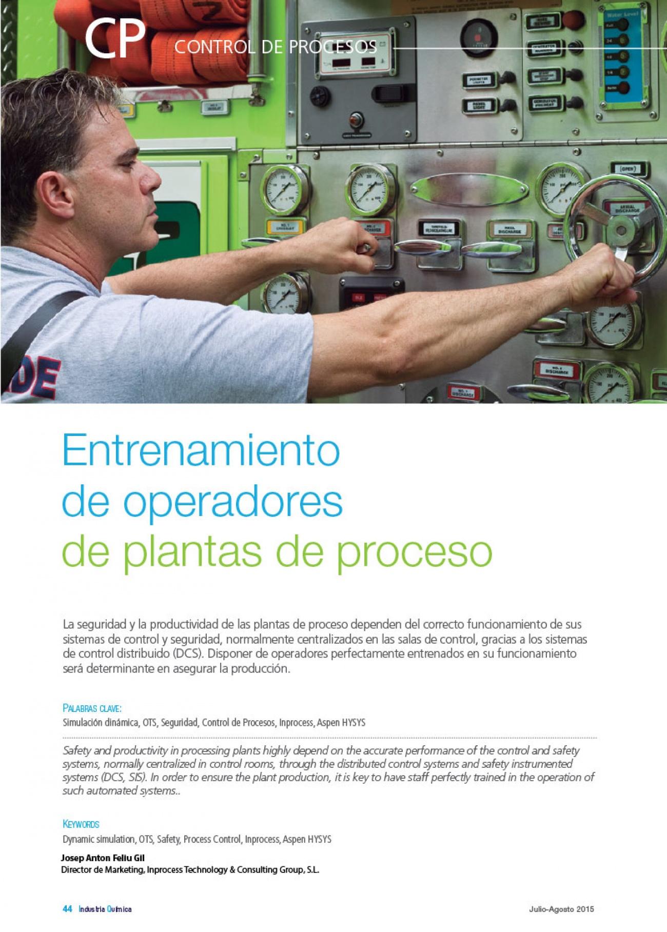 inprocess Entrenamiento de operadores en plantas de proceso (Spanish)