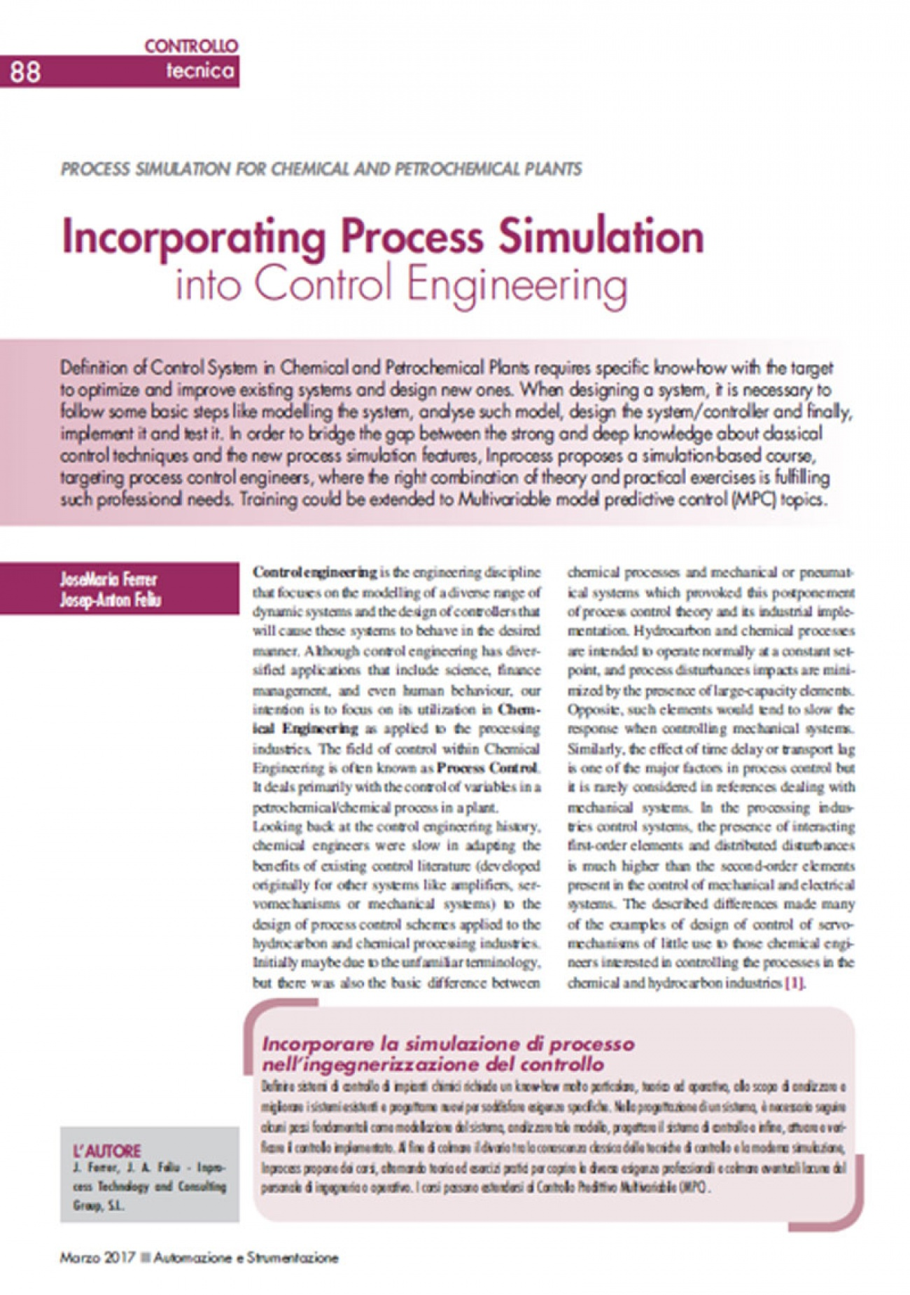 Inprocess Incorporating Process Simulation into Control Engineering