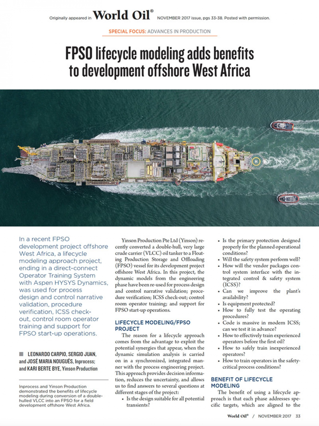 Inprocess FPSO Lifecycle modelling adds benefits to development offshore West Africa