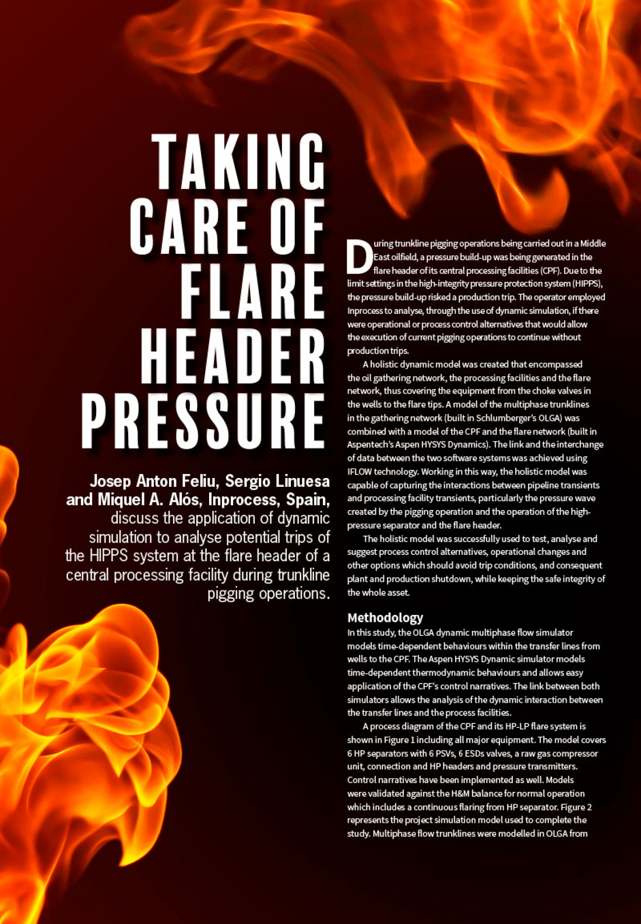 inprocess Taking care of flare header pressure